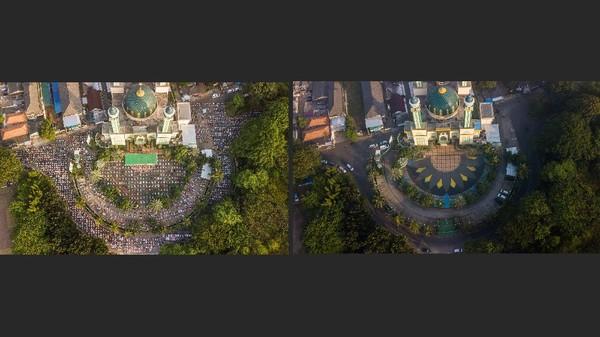 Tak hanya di Palembang, di Bekasi pun salat Idul Adha di masjid agung Al-Barkah pun ditiadakan. Berikut Foto kolase Shalat Idul Adha 1441 H (kiri) dan Idul Adha 1442 H (kanan) pada PPKM Darurat di Masjid Agung Al-Barkah, Bekasi, Jawa Barat, Selasa (20/7/2021) (ANTARA FOTO/Fakhri Hermansyah)