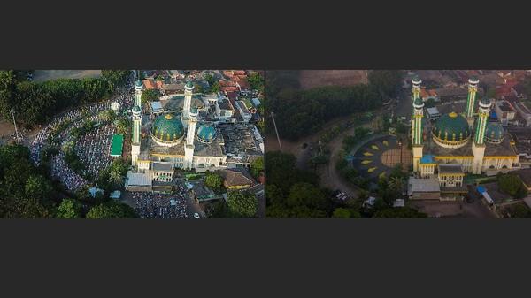 Seperti diketahui, angka kasus positif Corona di Jawa Barat sudah menyalip DKI Jakarta diangka 7000-an. Oleh karena itu, peniadaan salat Idul Adha di beberapa masjid Bekasi pun dilakukan guna menekan angka kasus positif COVID (ANTARA FOTO/Fakhri Hermansyah)