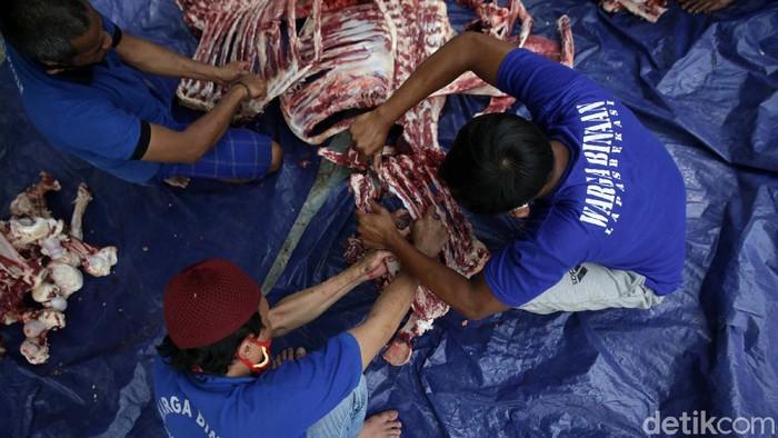 Penyembelihan hewan kurban juga dilakukan di Lapas Kelas 2A Kota Bekasi, Jawa Barat, Selasa (20/7). Penyembelihan ini melibatkan para warga binaan.