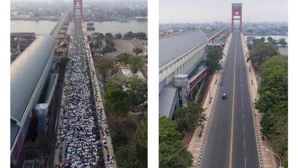 Foto kolase perbandingan suasana Shalat Idul Adha 1442 H di Jembatan Ampera Palembang, Sumatera Selatan, sebelum adanya pandemi COVID-19 (kiri) dan saat pandemi (kanan), Selasa (20/7/2021) (ANTARA FOTO/Iggoy El Fitra-Nova Wahyudi)