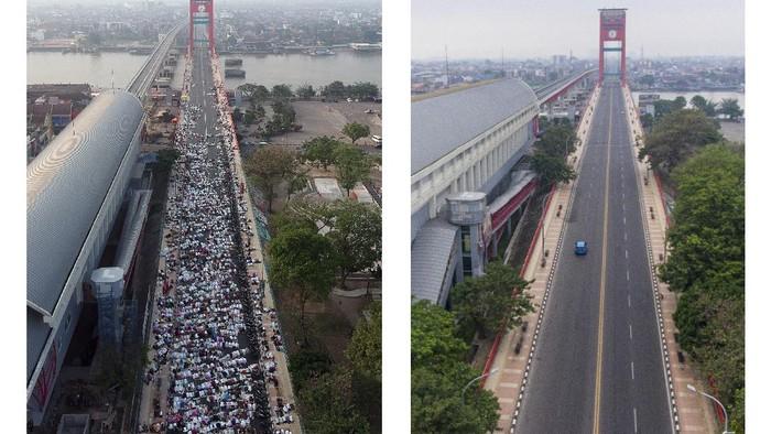Foto kolase perbandingan suasana Shalat Idul Adha 1442 H di Jembatan Ampera Palembang, Sumatera Selatan, sebelum adanya pandemi COVID-19 (kiri) dan saat pandemi (kanan), Selasa (20/7/2021). Pemerintah Kota Palembang bersama Kemenag Palembang melarang warga untuk melaksanakan Shalat Idul Adha 1442 H di masjid, musholla dan lapangan yang berada di zona merah. ANTARA FOTO/Iggoy El Fitra-Nova Wahyudi/foc.