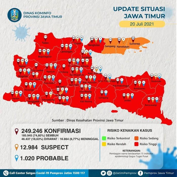 Kasus COVID-19 di Kota Surabaya terus melonjak. Saat ini, Kota Surabaya menjadi zona merah COVID-19 dan memiliki 10.472 kasus aktif.