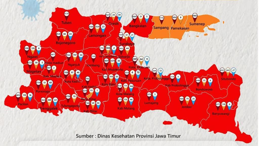 Kasus COVID-19 Melonjak, Surabaya Jadi Zona Merah