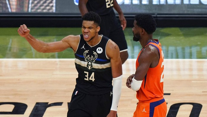 Milwaukee Bucks forward Giannis Antetokounmpo (34) reacts during the second half of Game 6 of basketballs NBA Finals against the Phoenix Suns in Milwaukee, Tuesday, July 20, 2021. (AP Photo/Paul Sancya)