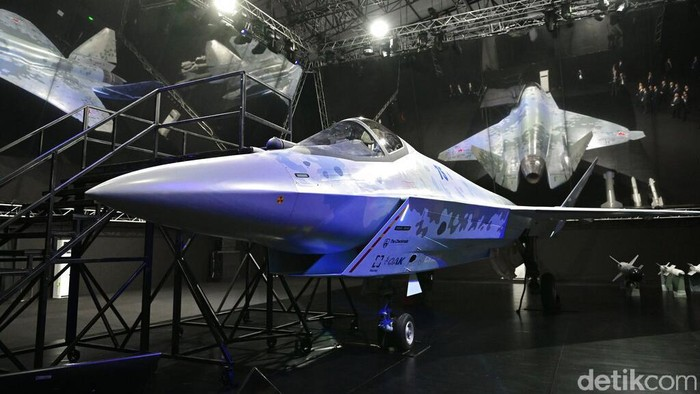 A prototype of Russia's prospective fighter jet is displayed at the MAKS-2021 International Aviation and Space Salon in Zhukovsky outside Zhukovsky, Russia, Tuesday, July 20, 2021. Russia on Tuesday unveiled a prototype of its prospective new fighter jet at the Moscow air show. (AP Photo/Alexander Zemlianichenko)