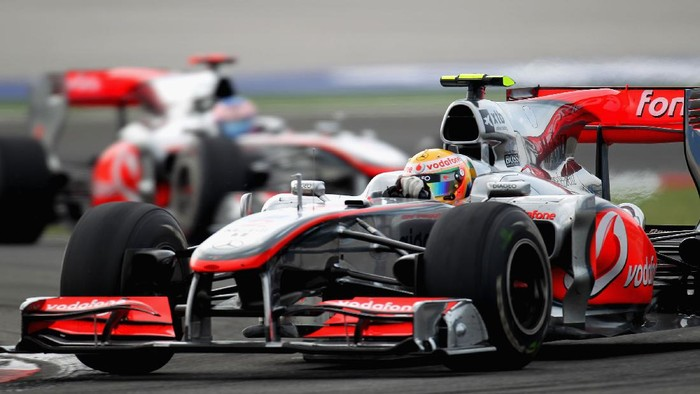 ISTANBUL, TURKEY - MAY 30:  Lewis Hamilton of Great Britain and McLaren Mercedes leads from team mate Jenson Button of Great Britain and McLaren Mercedes on his way to winning the Turkish Formula One Grand Prix at Istanbul Park on May 30, 2010, in Istanbul, Turkey.  (Photo by Malcolm Griffiths/Getty Images)