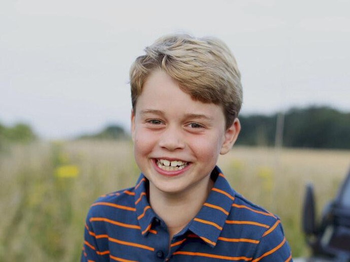 This July 2021 photo issued by Kensington Palace on Wednesday July 21, 2021, shows Prince George whose eighth birthday is on Thursday July 22, 2021, in Norfolk, England. (The Duchess of Cambridge/Kensington Palace via AP)