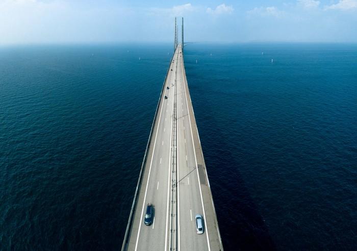 Aerial view of Oresund Bridge connecting Sweden and Denmark