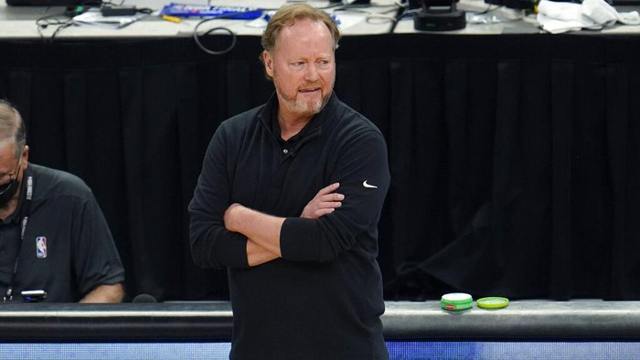 Milwaukee Bucks head coach Mike Budenholzer watches form the bench during the first half of Game 6 of basketballs NBA Finals against the Phoenix Suns in Milwaukee, Tuesday, July 20, 2021. (AP Photo/Paul Sancya)