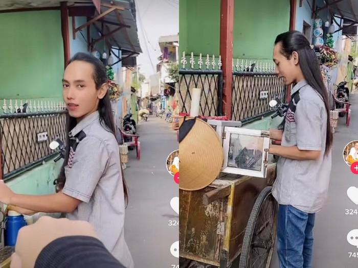 Penjual jamu keliling berambut panjang viral di media sosial.