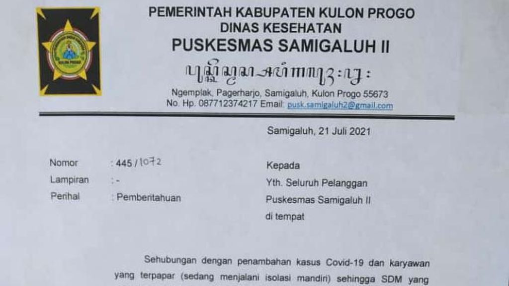 Lagi! Puskesmas di Kulon Progo Tutup karena Karyawan Terpapar Corona