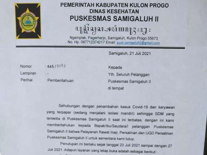 Puskesmas Samigaluh II Kulon Progo ditutup karena karyawan kena Corona, Kamis (22/7/2021).