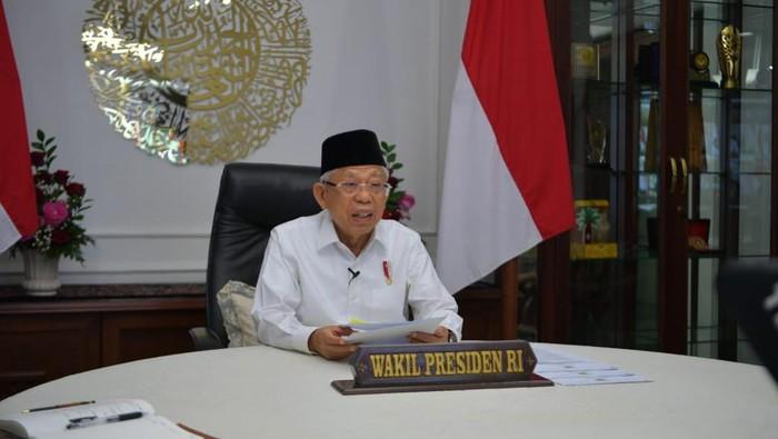 Wapres Maruf Amien saat memberikan arahan ke seluruh kepala pemerintahan di Jawa Barat terkait PPKM