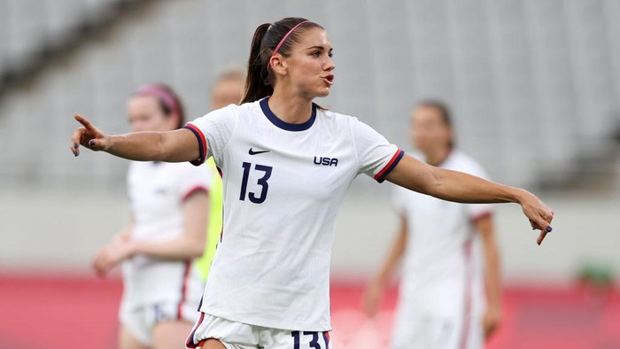 CHOFU, JAPAN - JULY 21: Alex Morgan #13 of Team United States reacts during the Women's First Round Group G match between Sweden and United States during the Tokyo 2020 Olympic Games at Tokyo Stadium on July 21, 2021 in Chofu, Tokyo, Japan. (Photo by Dan Mullan/Getty Images)