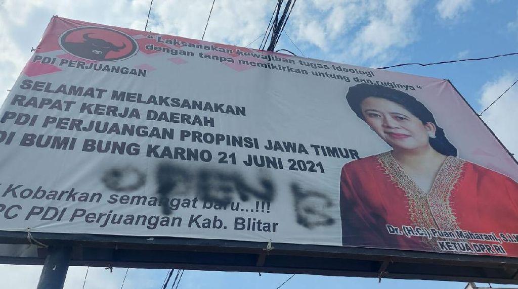 Polda Jatim Back Up Penyelidikan Kasus Vandalisme Open BO di Baliho Puan Maharani