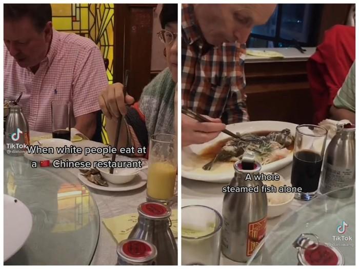 Tak Tahu Cara Makan di Restoran China, Bule Ini Lahap Seekor Ikan Kukus