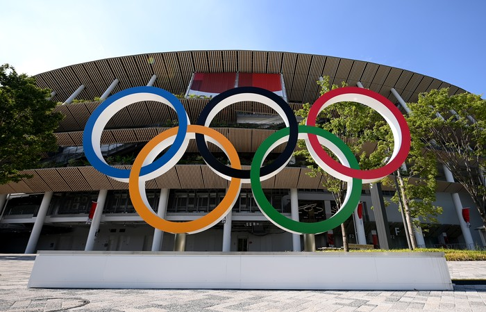 TOKYO, JAPAN - JULY 23: The Olympic rings outside of the stadium prior to the Opening Ceremony of the Tokyo 2020 Olympic Games at Olympic Stadium on July 23, 2021 in Tokyo, Japan. (Photo by Matthias Hangst/Getty Images)