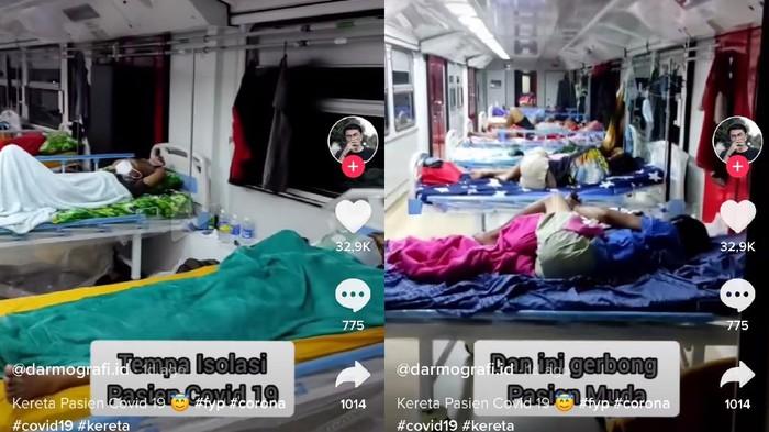 Viral pasien Corona room tour sebuah ruang isolasi COVID-19 di Gerbong Kereta Madiun, Jawa Timur.