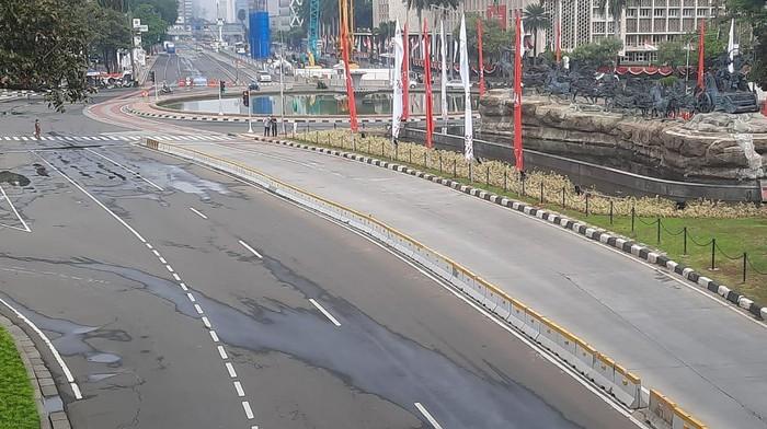 Situasi terkini di kawasan Istana Negara dan Glodok, tak ada massa demo Jokowi End Game, Sabtu (24/7/2021).