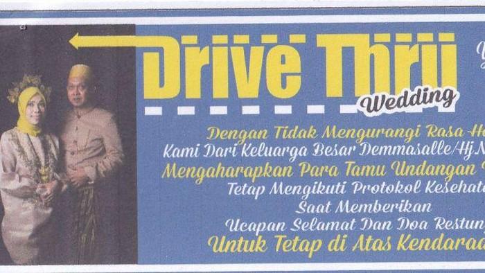 Resepsi pernikahan dengan konsep drive thru yang dihadiri Bupati Luwu Utara,  Indah Putri Indriani