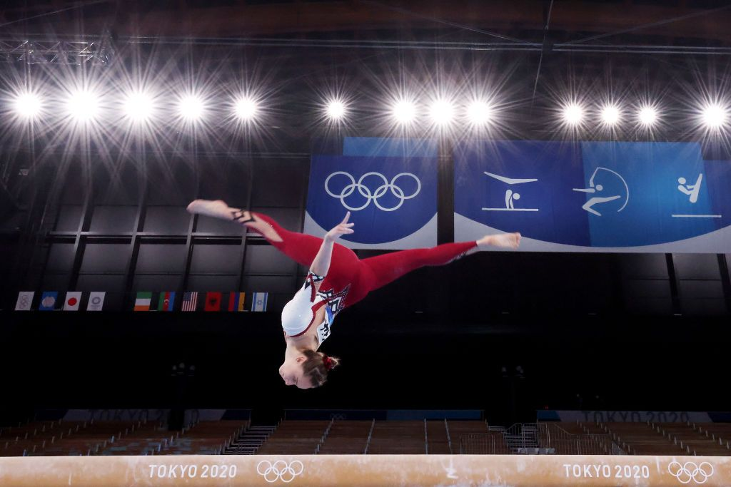TOKYO, JAPAN - JULY 25: Sarah Voss of Team Germany competes on balance beam during Women's Qualification on day two of the Tokyo 2020 Olympic Games at Ariake Gymnastics Centre on July 25, 2021 in Tokyo, Japan. (Photo by Ezra Shaw/Getty Images)