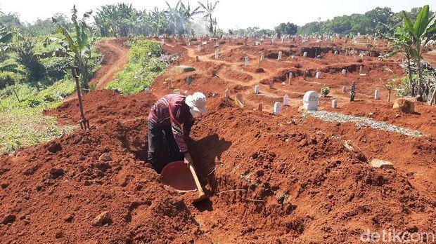 Lahan pemakanan khusus COVID-19 di TPU Pondok Rajeg Kabupaten Bogor mulai menyempir. Berikut foto-foto terkininya!