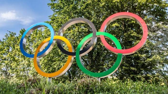 LAUSANNE, SWITZERLAND - JUNE 18: Olympic logo in front of the new Olympic House of International Olympic Committee on June 18, 2019 in Lausanne, Switzerland. (Photo by Robert Hradil/Getty Images)