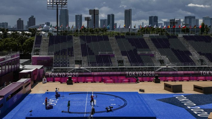 TOKYO, JAPAN - JULY 27: A general view during the 1/32 Eliminations round on day four of the Tokyo 2020 Olympic Games at Yumenoshima Park Archery Field on July 27, 2021 in Tokyo, Japan. (Photo by Justin Setterfield/Getty Images)