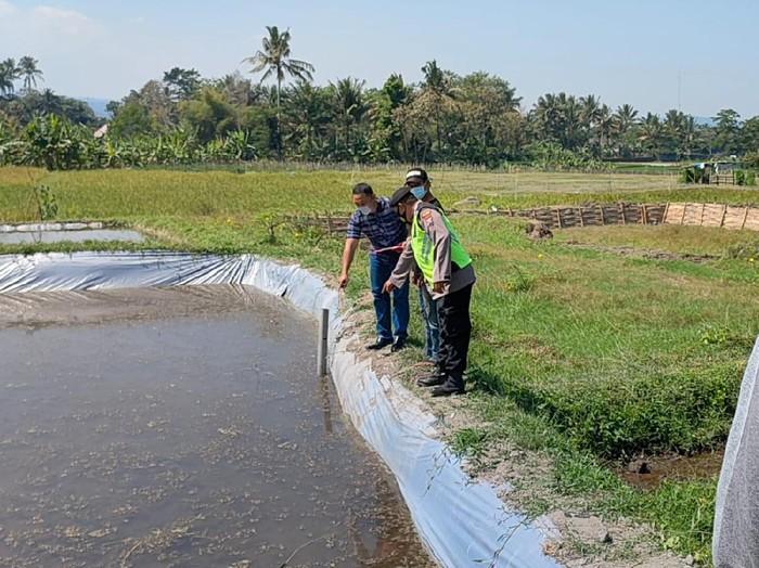 Warga Blitar, Sugeng Wahono ditemukan tewas saat membuat kolam ikan. Pria berusia 35 tahun itu diduga mengalami serangan jantung.