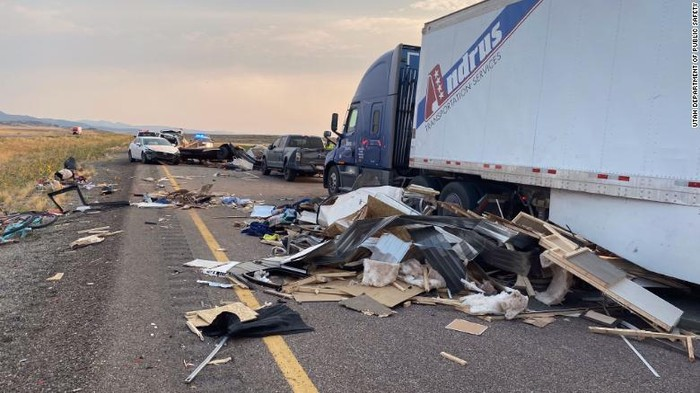 A sandstorm in Millard County, Utah, caused reduced visibility and led to a series of crashes on I-15 Sunday, officials said. (Utah Department of Public Safety via CNN)