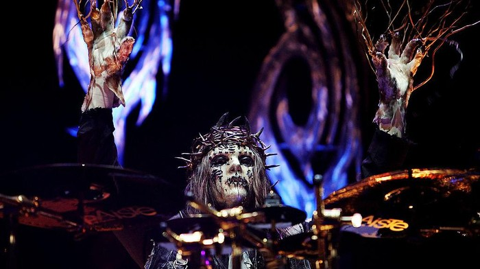 SYDNEY, AUSTRALIA - OCTOBER 26:  Drummer Joey Jordison of heavy metal band Slipknot performs on stage in concert at Acer Arena on October 26, 2008 in Sydney, Australia.  (Photo by Lisa Maree Williams/Getty Images)