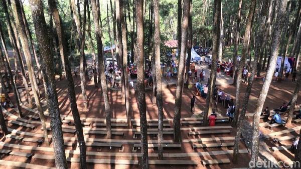 Pantauan detikcom, ratusan orang secara bertahap masuk ke kawasan pinus sari, kawasan wisata Mangunan. Sesampainya di lokasi mereka duduk di amphitheater pinus sari sembari menunggu antrean vaksinasi COVID-19.