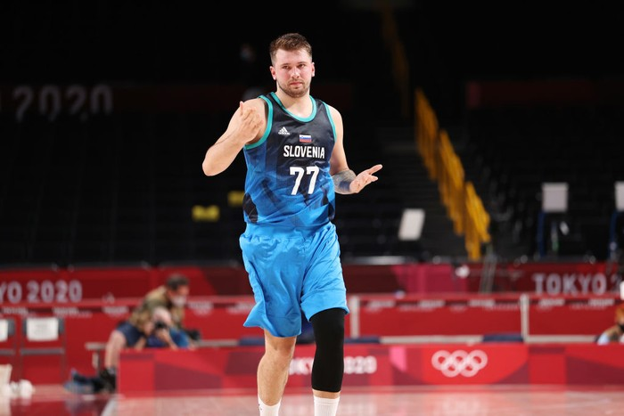 SAITAMA, JAPAN - JULY 26: Luka Doncic #77 of Team Slovenia reacts against Argentina during the second half on day three of the Tokyo 2020 Olympic Games at Saitama Super Arena on July 26, 2021 in Saitama, Japan. (Photo by Gregory Shamus/Getty Images)