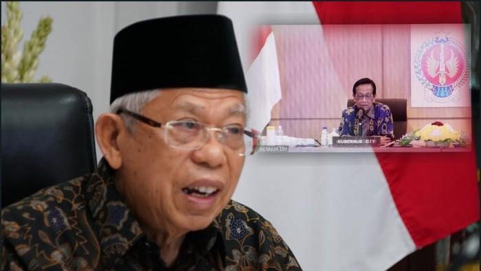 Wapres Maruf Amin saat rakor virtual dengan Satgas COVID-19 DI Yogyakarta, Rabu (28/7/2021).