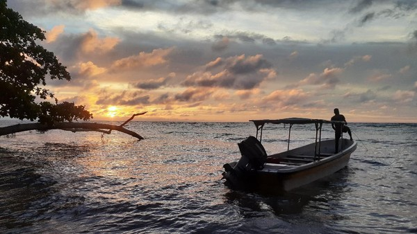 Pulau Kapotar tidak berpenghuni. Di pulau ini hanya ada beberapa pondok untuk istirahat. Penduduk tinggal di Pulau Mambor, yang terletak di sebelah selatan Pulau Kapotar. (Hari Suroto/Istimewa)