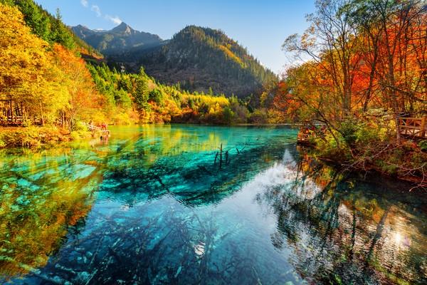 Namanya Five Flower Lake, berada di Jiuzhaigou, sebuah cagar alam dan taman nasional yang letaknya berada di Provinsi Sichuan, China.