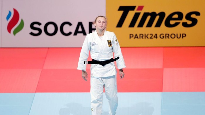 TOKYO, JAPAN - AUGUST 28: Martyna Trajdos of Germany reacts after her default victory in the Womens -63kg bronze medal bout against Tina Trstenjak of Slovenia on day four of the World Judo Championships at the Nippon Budokan on August 28, 2019 in Tokyo, Japan. (Photo by Kiyoshi Ota/Getty Images)