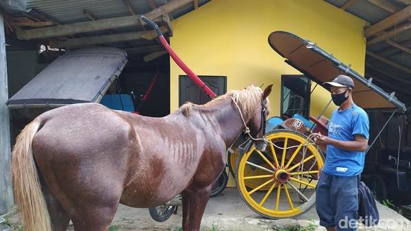 Kusir Andong di Candi Borobudur turut merasakan dampak buruk PPKM. Mereka sama sekali tidak ada pemasukan, sementara perawatan kuda harus tetap berjalan terus. (Eko Susanto/detikTravel)