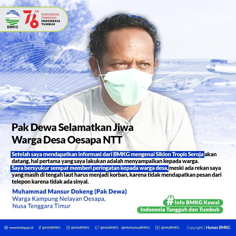 Seorang nelayan di NTT diberi Anugerah BMKG karena dinilai telah membantu menyelamatkan warga desa saat terjadi Siklon Tropis Seroja. Nelayan tersebut bernama Muhammad Mansur Dongkeng yang akrab disapa Dewa (dok BMKG)