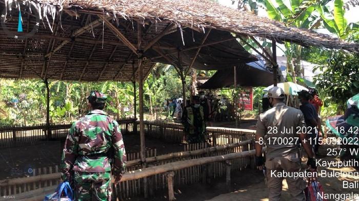Seorang pria di Buleleng, Bali, bernama Ketut Budi Arjana diamankan aparat karena menggelar judi sambung ayam saat kasus COVID-19 melonjak hampir sebulan. (dok Satpol PP)