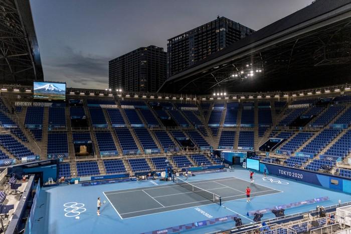 TOKYO, JAPAN - JULY 21: Novak Djokovic of team Serbia trains in Ariake Tennis Park ahead of the Tokyo 2020 Olympic Games on July 21, 2021 in Tokyo, Japan. (Photo by Maja Hitij/Getty Images)