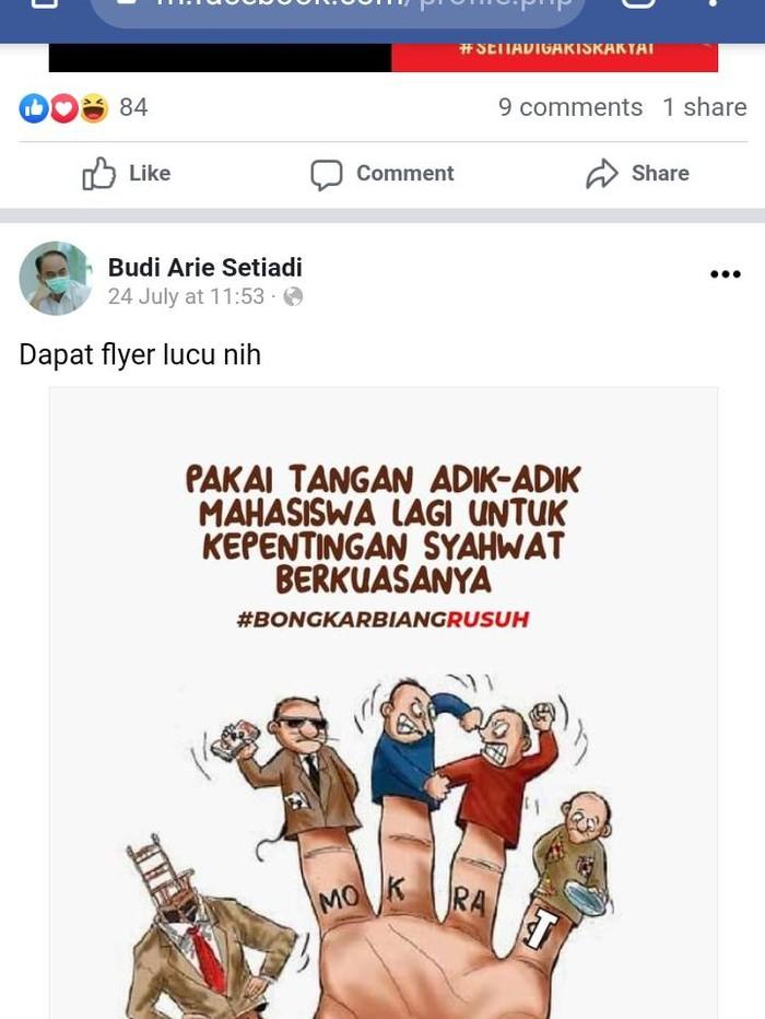 Postingan Wamendes PDTT Budi Arie yang membuat Demokrat Jabar buat laporan