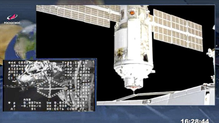 This photo provided by Roscosmos Space Agency Press Service, shows the Nauka module during the docking with the International Space Station on Thursday, July 29, 2021. Russias long-delayed lab module successfully docked with the International Space Station on Thursday, eight days after it was launched from the Russian space launch facility in Baikonur, Kazakhstan. The 20-metric-ton (22-ton) Nauka module, also called the Multipurpose Laboratory Module, docked with the orbiting outpost after a long journey and a series of maneuvers.(Roscosmos Space Agency Press Service photo via AP)