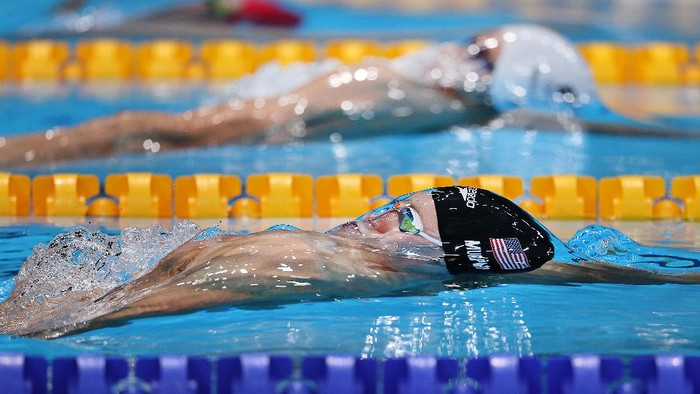 TOKYO, JAPAN - JULY 30: Ryan Murphy of Team United States competes in the Mens 200m Backstroke Final on day seven of the Tokyo 2020 Olympic Games at Tokyo Aquatics Centre on July 30, 2021 in Tokyo, Japan. (Photo by Maddie Meyer/Getty Images)