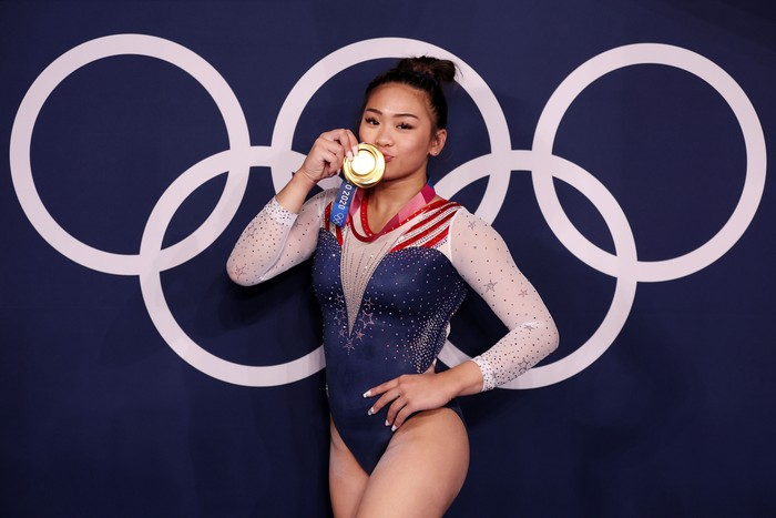 TOKYO, JAPAN - JULY 29: Sunisa Lee of Team United States poses with her gold medal after winning the Womens All-Around Final on day six of the Tokyo 2020 Olympic Games at Ariake Gymnastics Centre on July 29, 2021 in Tokyo, Japan. (Photo by Jamie Squire/Getty Images)