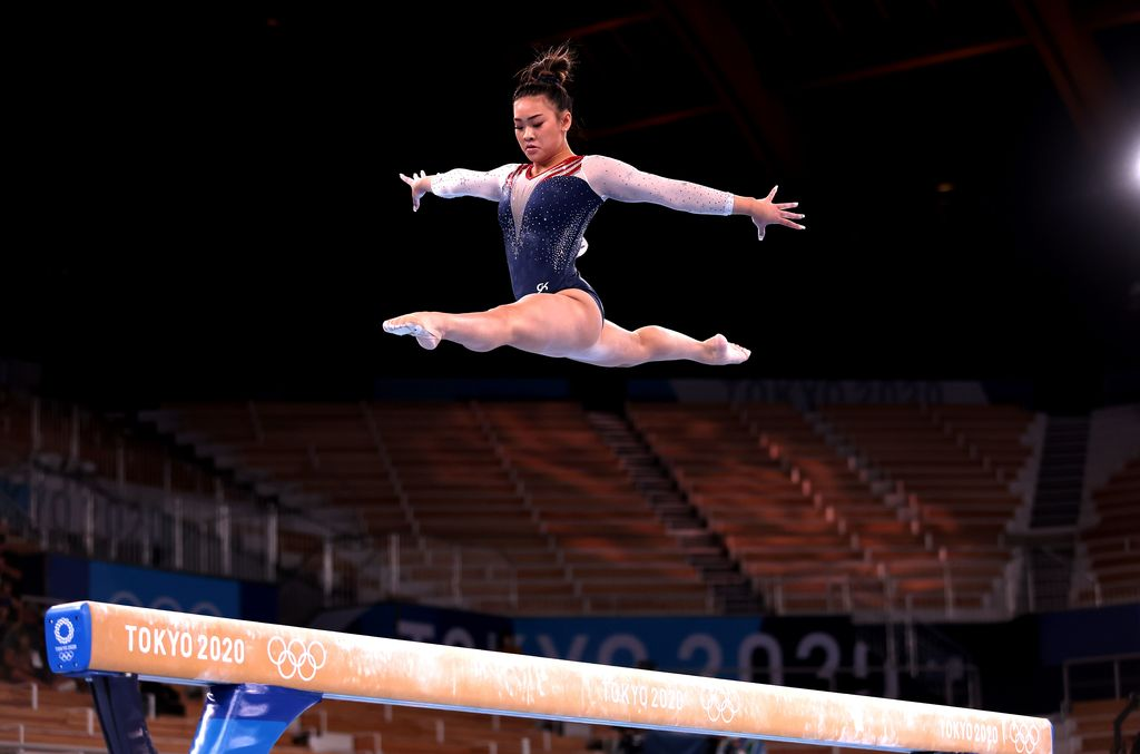 TOKYO, JAPAN - JULY 29: Sunisa Lee of Team United States competes on balance beam during the Women's All-Around Final on day six of the Tokyo 2020 Olympic Games at Ariake Gymnastics Centre on July 29, 2021 in Tokyo, Japan. (Photo by Jamie Squire/Getty Images)