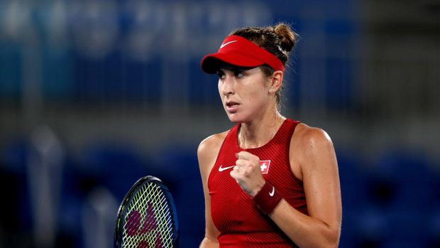 TOKYO, JAPAN - JULY 31: Belinda Bencic of Team Switzerland celebrates a point during her Women's Singles Gold Medal match against Marketa Vondrousova of Team Czech Republic on day eight of the Tokyo 2020 Olympic Games at Ariake Tennis Park on July 31, 2021 in Tokyo, Japan. (Photo by Naomi Baker/Getty Images)