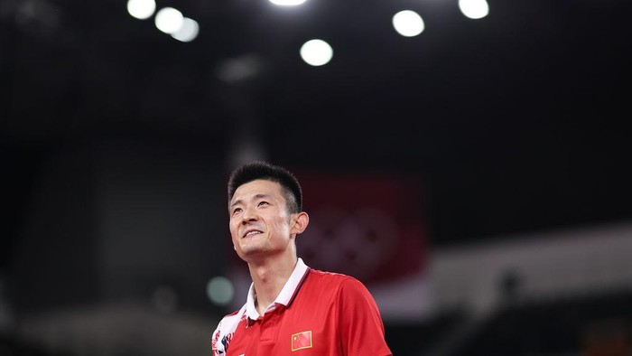CHOFU, JAPAN - JULY 31: Chen Long of Team China reacts as he competes against Chou Tien-chen of Team Chinese Taipei during a Mens Singles Quarterfinal match on day eight of the Tokyo 2020 Olympic Games at Musashino Forest Sport Plaza on July 31, 2021 in Chofu, Tokyo, Japan. (Photo by Lintao Zhang/Getty Images)