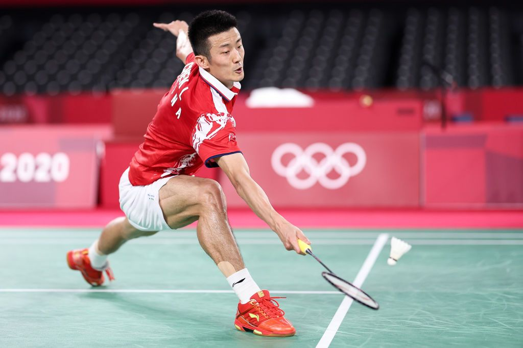 CHOFU, JAPAN - JULY 31: Chen Long of Team China competes against Chou Tien-chen of Team Chinese Taipei during a Men's Singles Quarterfinal match on day eight of the Tokyo 2020 Olympic Games at Musashino Forest Sport Plaza on July 31, 2021 in Chofu, Tokyo, Japan. (Photo by Lintao Zhang/Getty Images)