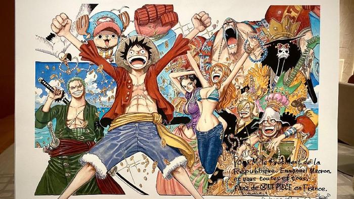 Ilustrasi One Piece untuk Presiden Emmanuel Macron